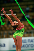 """Dora Vass of Hungary re-catches ribbon at 2008 World Cup Kiev, """"Deriugina Cup"""" in Kiev, Ukraine on March 22, 2008."""
