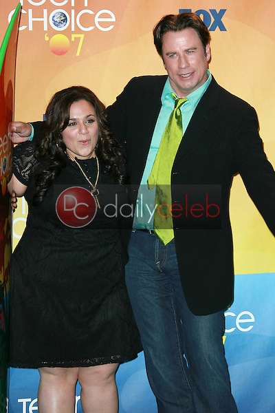 Nikki Blonsky and John Travolta<br />in the press room of the 2007 Teen Choice Awards. Gibson Amphitheater, Universal City, CA. 08-26-07<br />Dave Edwards/DailyCeleb.com 818-249-4998