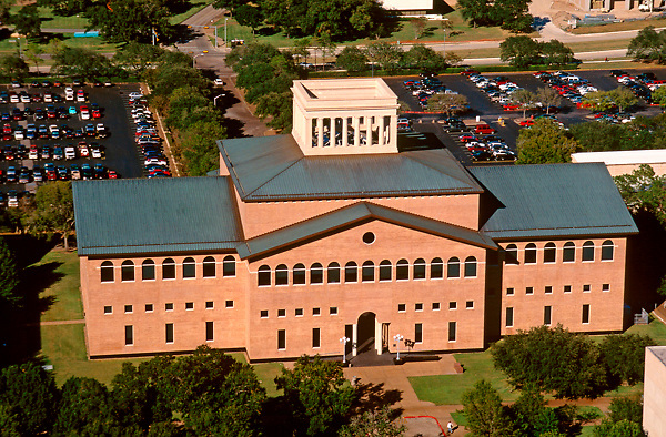 aerial view of the architecture building at the university