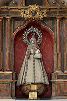 Statue of Virgin Mary, Iglesia de San Esteban (St Stephen's Church), 12th-13th centuries, Segovia, Castile and Leon, Spain. Baroque interior rebuilt after fire, 18th century. Picture by Manuel Cohen