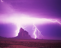 Lightning Strikes at Shiprock, New Mexico 2,000 foot high volcanic neck  Sacred Butte to Navajo people