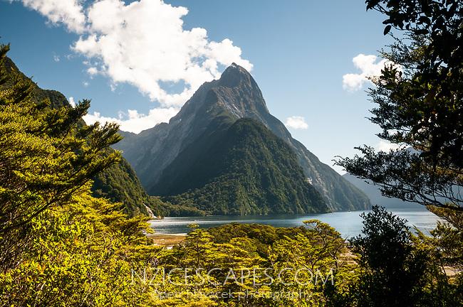 Mitre Peak 1692m in Milford Sound, Fiordland National Park, UNESCO World Heritage Area, Southland, New Zealand, NZ
