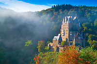 Eltz Castle and morning fog, Moselle River, Rhineland, Germany 12th Century Castle