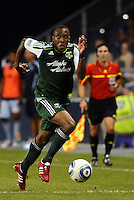 Rodney Wallace (22) defender Portland Timbers flies down the wing... Sporting Kansas City defeated Portland Timbers 3-1 at LIVESTRONG Sporting Park, Kansas City, Kansas.