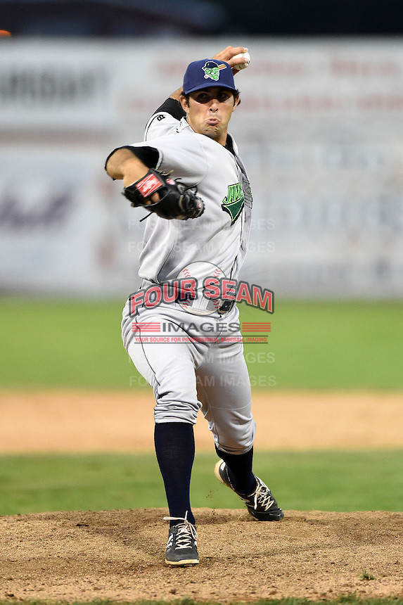 Jamestown Jammers pitcher Jared Lakind (47) delivers a pitch during a game against the Batavia Muckdogs on July 7, 2014 at Dwyer Stadium in Batavia, New York.  Batavia defeated Jamestown 9-2.  (Mike Janes/Four Seam Images)