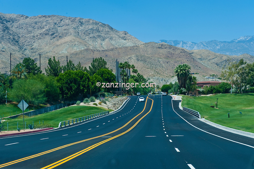 New, Paved, Road, Painted, Dividers,  San, Jacinto, Mountains, down, hill, Palm, Desert, California