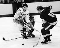 Seals vs Los Angeles Kings 1975.<br />Kings Frank St.Marseille and Bob Berry. Seals<br />(photo/Ron Riesterer)