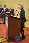 Uniondale, New York, USA. January 30, 2017. Nassau County Legislator LAURA CURRAN (D-Baldwin), 48, candidate for Nassau County Executive, speaks at podium after receiving endorsement from Democratic Party leaders. A primary is expected.  Curran is in her second term as Nassau County Legislator for 5th Legislative District. J. S. Jacobs, N. C. Democratic Committee Chairman, made the announcement backing Curren for County Exec.