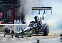 Sep 16, 2016; Concord, NC, USA; NHRA top fuel driver Ike Maier during qualifying for the Carolina Nationals at zMax Dragway. Mandatory Credit: Mark J. Rebilas-USA TODAY Sports