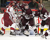 Mike Seward (Harvard - 18), Nathan Sinz (Colgate - 24), Tylor Spink (Colgate - 18) - The Harvard University Crimson defeated the Colgate University Raiders 4-1 (EN) on Friday, February 15, 2013, at the Bright Hockey Center in Cambridge, Massachusetts.