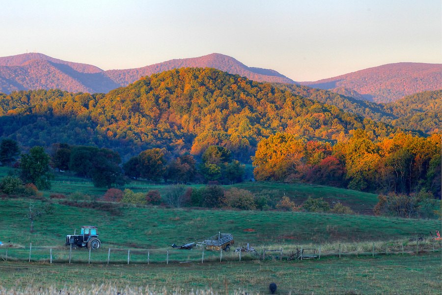 A scenic farm backing up to the Blue Ridge Mountains in Madison County, VA. Photo/Andrew Shurtleff