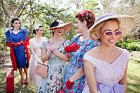 Models wait to go onstage l-r Katerina Valentina, Beccie Leathley, Victoria Wimsett, Rita Fontaine and Sophie Raper are pictured at The 2012 Historic Houses Trust of NSW annual Fifties Fair at Rose Seidler House, Sydney. Picture James Horan