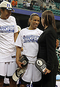 Jasmine Thomas shares a laugh with Coach Joanne P. McCallie. This was the Championship game of the 2011 ACC Tournament in Greensboro on March 6, 2011. Duke beat UNC 81-66. (Photo by Al Drago)