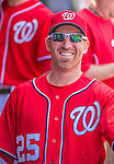 14 April 2013: Washington Nationals first baseman Adam LaRoche smiles in the dugout prior to a game against the Atlanta Braves at Nationals Park in Washington, DC. The Braves shut out the Nationals 9-0 to sweep their 3-game series. Mandatory Credit: Ed Wolfstein Photo *** RAW (NEF) Image File Available ***