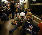 Supporters of President-elect Barack Obama on election day early Wednesday, Nov. 5, 2008  at the Subway in New York. Photo by Eyal Warshavsky .