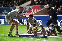 Anthony Watson of Bath Rugby looks on after appearing to score a try but the score is later ruled out. European Rugby Challenge Cup match, between Bristol Rugby and Bath Rugby on January 13, 2017 at Ashton Gate Stadium in Bristol, England. Photo by: Patrick Khachfe / Onside Images