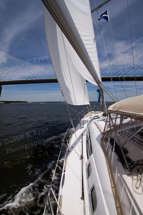 Beneteau 49 Sailboat and the Arthur Ravenel Jr Bridge in Charleston South Carolina