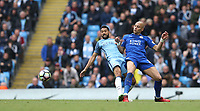 Leicester City's Yohan Benalouane and Manchester City's Nicolas Otamendi<br /> <br /> Photographer Stephen White/CameraSport<br /> <br /> The Premier League - Manchester City v Leicester City - Saturday 13th May 2017 - Etihad Stadium - Manchester<br /> <br /> World Copyright &copy; 2017 CameraSport. All rights reserved. 43 Linden Ave. Countesthorpe. Leicester. England. LE8 5PG - Tel: +44 (0) 116 277 4147 - admin@camerasport.com - www.camerasport.com