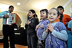 """THIS PHOTO IS AVAILABLE AS A PRINT OR FOR PERSONAL USE. CLICK ON """"ADD TO CART"""" TO SEE PRICING OPTIONS.   A children's choir sings during a worship service of the United Methodist Roma congregation in Jabuka, Serbia.."""