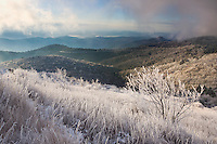 """FROSTY MORNING"" -- An early season snow storm blankets the high mountains of western North Carolina in a thin layer of ice. Seen from near the summit of Black Balsam which stands atop Graveyard Fields."