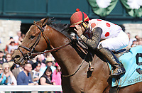 LEXINGTON, KY - April 08, 2017, #9 Awesome Slew and jockey Joel Rosario win the 31st running of The Commonwealth Grade 3 $250,000 for owner Live Oak PLantation and trainer Mark Casse at Keeneland Race Course.  Lexington, Kentucky. (Photo by Candice Chavez/Eclipse Sportswire/Getty Images)