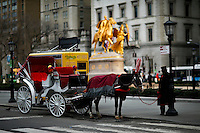 A horse-drawn cab is parked next to Central Park, in New York, 01/20/2016 NYC Mayor Bill de Blasio plans to reduce the number of carriages and restrict them to ride in Central Park. Photo by VIEWpress