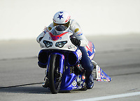 Aug. 31, 2012; Claremont, IN, USA: NHRA pro stock motorcycle rider Hector Arana Jr during qualifying for the US Nationals at Lucas Oil Raceway. Mandatory Credit: Mark J. Rebilas-