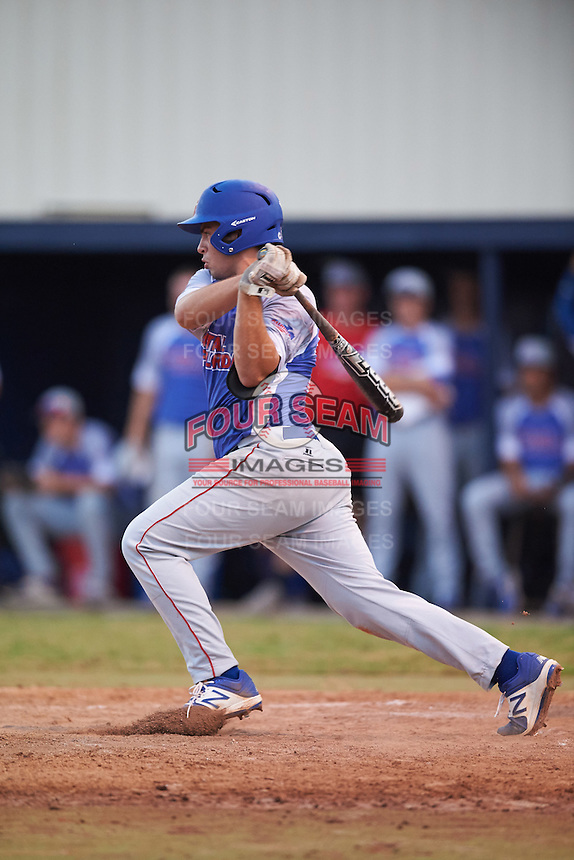 College of Central Florida Patriots Luis Medina (29) at bat during a game against the SCF Manatees on February 8, 2017 at Robert C. Wynn Field in Bradenton, Florida.  SCF defeated Central Florida 6-5 in eleven innings.  (Mike Janes/Four Seam Images)
