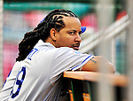 23 April 2010: Los Angeles Dodgers' left fielder Manny Ramirez watches from the dugout prior to a game against the Washington Nationals at Nationals Park in Washington, DC. The Nationals defeated the Dodgers 5-1 in the first game of their 3-game series. Mandatory Credit: Ed Wolfstein Photo