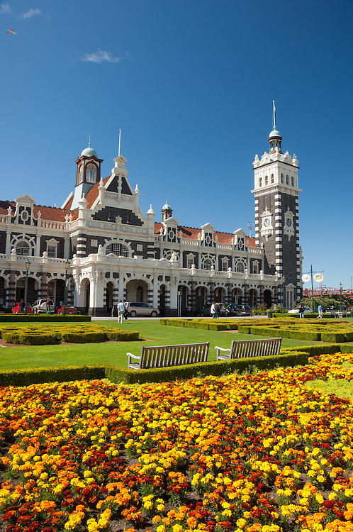 The historic Dunedin Railway station building on a blue sky day,  Otago, South Island, New Zealand- stock photo, canvas, fine art print