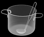 X-ray image of a soup pot with ladle (white on black) by Jim Wehtje, specialist in x-ray art and design images.
