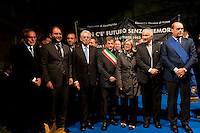 Roma, 16 Ottobre  2012.Commemorazione per le deportazioni degli ebrei dal ghetto di Roma del 16 ottobre 1943..Andrea Riccardi, Riccardo Pacifici, Mario Monti,Gianni Alemanno,Renzo Gattegna, Nicola Zingaretti..Sixty-nine years later, Rome remembers October 16, 1943, when over a thousand Roman Jews, and among them 350 children, were driven from their homes. An official ceremony and candlelight vigil is organized by the Community of Sant'Egidio  and the Jewish Community in memory of the sacrifice Roman Jews rounded up by the Nazis in Rome.