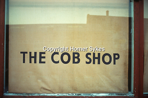 Cob shop window a cob is a bread roll in the North of England Hull Humberside