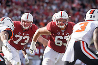 Stanford, CA - November 5, 2016: A.T. Hall and Nate Herbig during  the Stanford vs Oregon State game at Stanford Stadium Saturday. <br /> <br /> Stanford won 26-15.