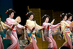 Geisha perform various traditional dances from around Japan during  the Genji Ayame festival in Izu-Nagaoka, Shizuoka Prefecture, Japan on 01 July, 2011..Photographer: Robert Gilhooly