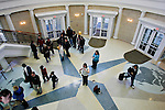People enter the Baker Center during it's grand opening ono the fourth floor entrance Feb. 11, 2007 in the Baker Center, Ohio University, Athens, Ohio.