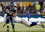Seattle Seahawks running back Marshawn lynch breaks the tackle of  St. Louis Rams linebacker Chris Chamberlain at  CenturyLink Field in Seattle, Washington on December 12, 2011. The Seahawks beat the Rams 30-13. ©2011 Jim Bryant Photo. All Rights Reserved.