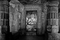 """Ajanta, a UNESCO world heritage site, is famous for its Buddhist rock-cut cave temples and monasteries with their extraordinary wall paintings. The temples are hollowed out of granite cliffs on the inner side of a 20-meter ravine in the Wagurna River valley, 105 km northeast of Aurangabad, at a site of great scenic beauty. About 30 caves were excavated between the 1st century BCE and the 7th century CE and are of two types, caityas (""""sanctuaries"""") and viharas (""""monasteries""""). Although the sculpture, particularly the rich ornamentation of the caitya pillars, is noteworthy, it is the fresco-type paintings that are the chief interest of Ajanta. These paintings depict colorful Buddhist legends and divinities with an exuberance and vitality that is unsurpassed in Indian art.[Adapted from Encyclopedia Britannica]"""