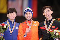 "SHORT TRACK: MOSCOW: Speed Skating Centre ""Krylatskoe"", 15-03-2015, ISU World Short Track Speed Skating Championships 2015, Final Podium Men, Se Yeong PARK (KOR), Sjinkie KNEGT (NED), Dajing WU (CHN), ©photo Martin de Jong"