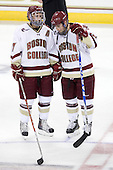 Brian Gibbons (BC - 17), Cam Atkinson (BC - 13) - The Boston College Eagles defeated the visiting Merrimack College Warriors 3-2 on Friday, October 29, 2010, at Conte Forum in Chestnut Hill, Massachusetts.