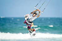 The last leg of the 2010 PKRA World Kiteboarding Tour has come to the Gold Coast, Australia - Jalou Langeree from Holland in action in a round of the womans single elimination freestyle.
