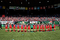 Portland, OR - Saturday April 15, 2017: Portland Thorns players wave to supporters after a regular season National Women's Soccer League (NWSL) match between the Portland Thorns FC and the Orlando Pride at Providence Park.