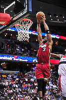 Dwyane Wade of the Heat goes up for a dunk. Washington Wizards defeated the Miami Heat 105-101 at the Verizon Center in Washington, D.C. on Tuesday, December 4, 2012.   Alan P. Santos/DC Sports Box