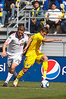 27 MARCH 2010:  Robbie Rogers of the Columbus Crew (18) and Ty Harden of Toronto FC (20) during the Toronto FC at Columbus Crew MLS game in Columbus, Ohio on March 27, 2010.