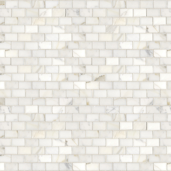 Running Bond, a hand-cut stone mosaic, shown in polished 3cm x 5cm Calacatta.