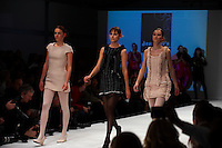 Models on the catwalk wearing creations by Sofia Jarnefelt (University of Art &amp; Design Helsinki). &quot;Designers Nest Show and Award&quot; at the fashion fair &quot;CPH Vision&quot; in Oksnehallen. Copenhagen Fashion Week.<br /> February 2009.<br /> Only for editorial use.
