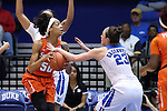 10 February 2017: Duke's Rebecca Greenwell (23) knocks the ball out of the hands of Syracuse's Briana Day (50). The Duke University Blue Devils hosted the Syracuse University Orange at Cameron Indoor Stadium in Durham, North Carolina in a 2016-17 Division I Women's Basketball game. Duke won the game 72-55.