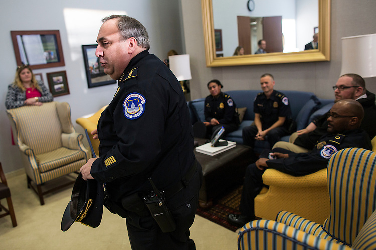 UNITED STATES - APRIL 14 - Matthew Verderosa, Chief of Police for the U.S. Capitol Police, speaks about the late U.S. Capitol Police Offer Vernon Alston, on Capitol Hill, in Washington, Thursday, April 14, 2016. (Photo By Al Drago/CQ Roll Call)