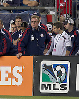 New England Revolution head coach Steve Nicol. In a Major League Soccer (MLS) match, the San Jose Earthquakes defeated the New England Revolution, 2-1, at Gillette Stadium on October 8, 2011.