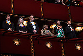 (L-R) 2016 Kennedy Center Honorees actor Al Pacino, pianist Martha Argerich, singer James Taylor, singer Mavis Staples, First Lady Michelle Obama and Us President Barack Obama listen to the National Anthem at the Kennedy Center, December 4, 2016, Washington, DC.  The 2016 honorees are: Argentine pianist Martha Argerich; rock band the Eagles; screen and stage actor Al Pacino; gospel and blues singer Mavis Staples; and musician James Taylor.<br /> Credit: Aude Guerrucci / Pool via CNP